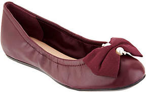 Isaac Mizrahi Live! Leather Ballet Flats withBow Detail