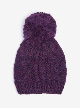 Dorothy Perkins Purple Cable Knit Pompom Beanie Hat
