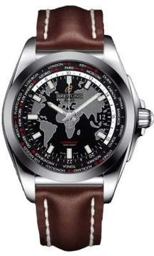 Breitling Galactic Unitime Black Dial Dark Brown Leather Men's Watch WB3510U4-BD94DBRLT