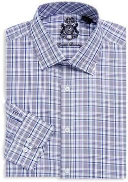 English Laundry Men's Plaid-Print Cotton Dress Shirt