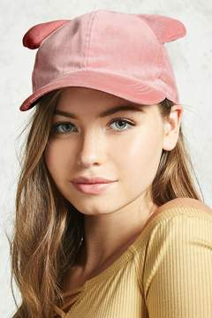 Forever 21 Velvet Cat Ear Baseball Cap