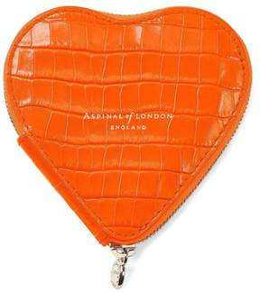 Aspinal of London Heart Coin Purse In Deep Shine Amber Small Croc