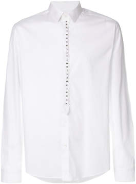 Les Hommes stud-placket fitted shirt