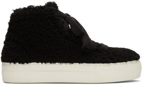 Helmut Lang Black Shearling Stitched High-Top Sneakers