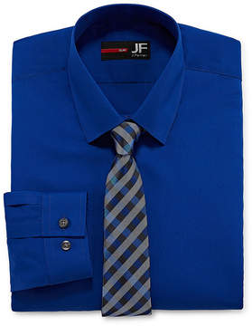 Jf J.Ferrar Slim Fit Dress Shirt And Tie Set Shirt + Tie Set Slim