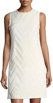 Donna Ricco Sleeveless Fringe-Trim Jacquard Dress