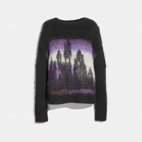 COACH COACH TIE DYE OVERSIZED CREW NECK SWEATER - BLACK