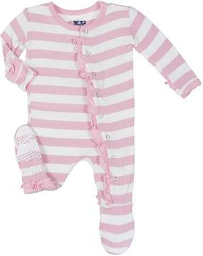 Kickee Pants Pink Stripe Footie