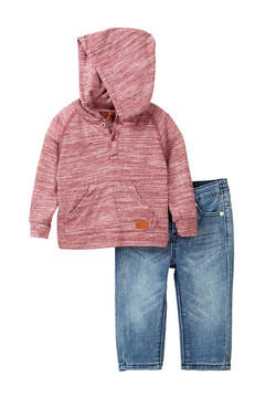 7 For All Mankind Hooded Henley Tee & Jeans Set (Baby Boys)