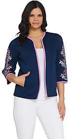 Bob Mackie Bob Mackie's Floral Embroidered Sleeve RibKnit Jacket