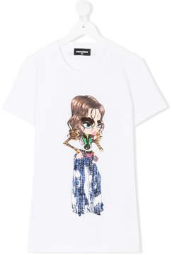 DSQUARED2 TEEN Rock Girl print T-shirt