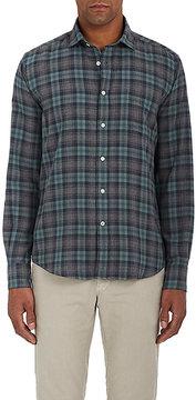 Hartford Men's Plaid Cotton Flannel Button-Front Shirt