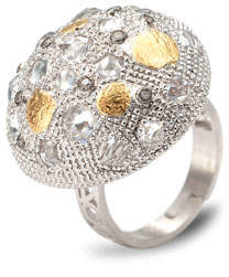 Coomi Opera Silver Crystal & Diamond Dome Ring, Size 8