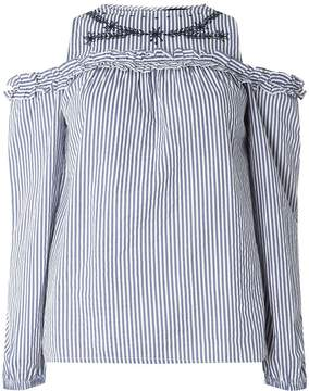 Dorothy Perkins Navy Striped Embroidered Cold Shoulder Top
