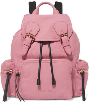 Burberry Medium Mesh-trimmed Textured-leather Backpack - Pink - PINK - STYLE