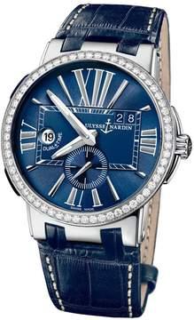 Ulysse Nardin Executive Dual Time Blue Dial Diamond Bezel Blue Leather Men's Watch 243-00B-43