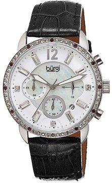 Burgi Crystal Chronograph Black Leather Mother of Pearl Dial Ladies Watch