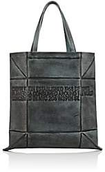 Calvin Klein Women's Small Geometric Leather Tote Bag - Cadet Blue Black