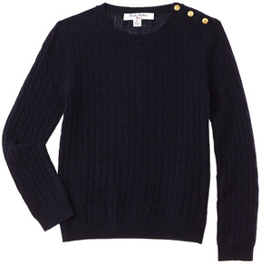Brooks Brothers Girls' Navy Cashmere Cableknit Sweater