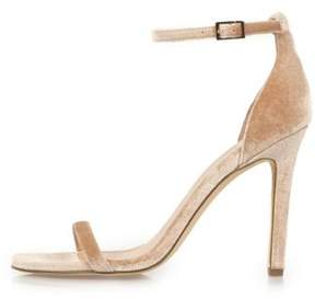 River Island Womens Nude velvet barely there heeled sandals