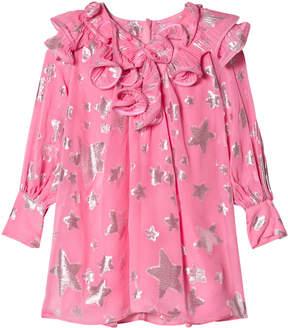 Little Marc Jacobs Pink Star Print Silk Dress with Ruffle Collar