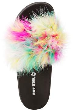 Charlotte Russe Faux Feather Slide Sandals
