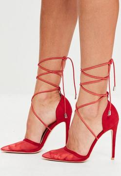 Missguided Red Mesh Ankle Tie Court Shoes