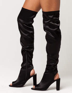 Qupid Satin Peep Toe Womens Over The Knee Boots