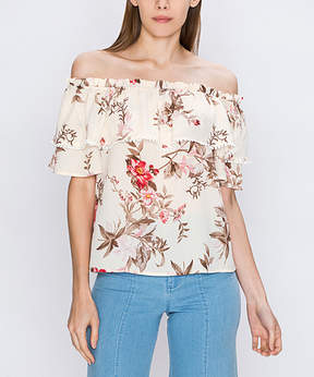 Flying Tomato Ivory Floral Ruffle-Accent Off-Shoulder Top - Women
