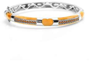 Swarovski Orange & White Gold Heart Bangle With Crystals