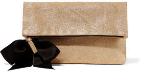 Clare Vivier Bow-embellished Glittered Suede Clutch - Gold