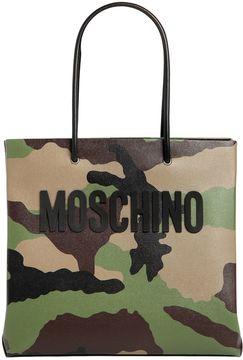 Moschino Camo Printed Leather Tote Bag