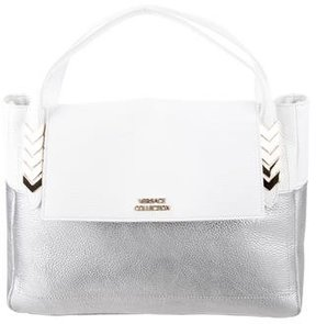 Versace Pebbled Leather Bicolor Satchel
