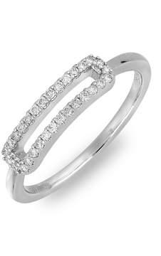 Bony Levy 18K White Gold Pave Diamond Cutout Bar Ring - 0.16 ctw