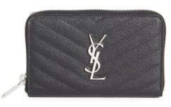 Saint Laurent Monogram Compact Matelasse Leather Zip-Around Wallet - BLACK - STYLE