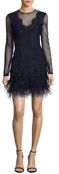 Cinq à Sept Amabella Embroidered Cocktail Dress with Ditsy Mesh & Feathered Hem