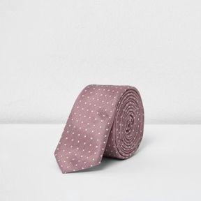 River Island Boys pink polka dot slim tie