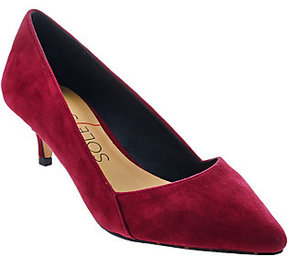 Sole Society As Is Suede Pointed Tow Kitten Heel Pumps - Desi