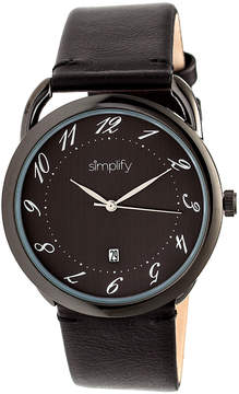 Simplify Black The 4900 Leather-Band Watch - Men