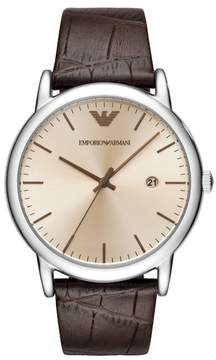 Emporio Armani Round Leather Strap Watch, 43Mm