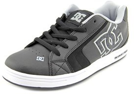 DC Net Se Youth Round Toe Leather Black Skate Shoe.