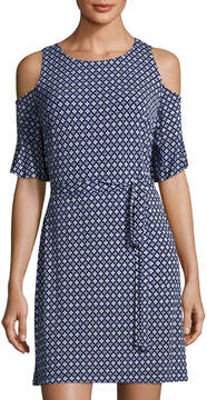 Donna Morgan Cold-Shoulder Shift Dress, Blue Pattern