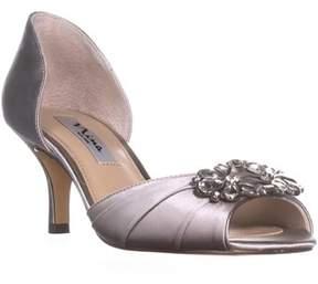 Nina Charisa Kitten Heel Pumps, Silver Crystal.
