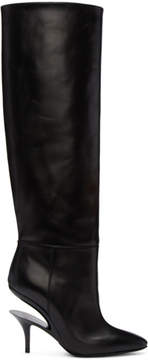 Maison Margiela Black Cut Heel Knee-High Boots