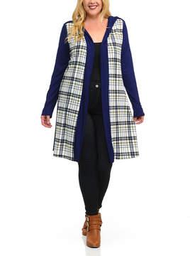 Celeste Navy & Plaid Hooded Cardigan - Plus