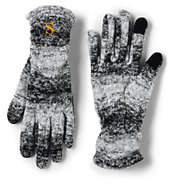 Lands' End Women's 100 Fleece Ruched Pattern EZ Touch Gloves-Spiced Berry
