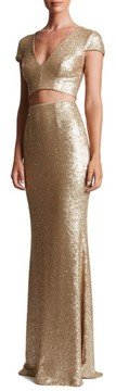 Dress the Population Women's Cara Sequin Two-Piece Gown
