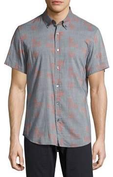 Billy Reid Murphy Geo-Print Short-Sleeve Sport Shirt, Blue/Red