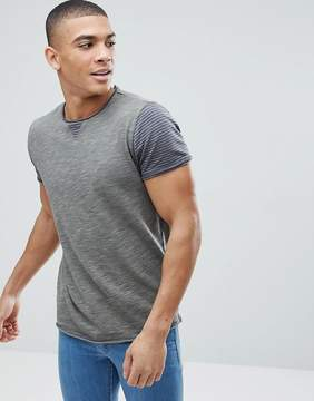 Solid T-Shirt With Stripe Sleeves
