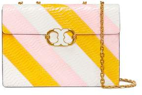 Tory Burch GEMINI LINK SNAKE LARGE CHAIN SHOULDER BAG - NEW IVORY / DAISY / OPULENT PINK - STYLE